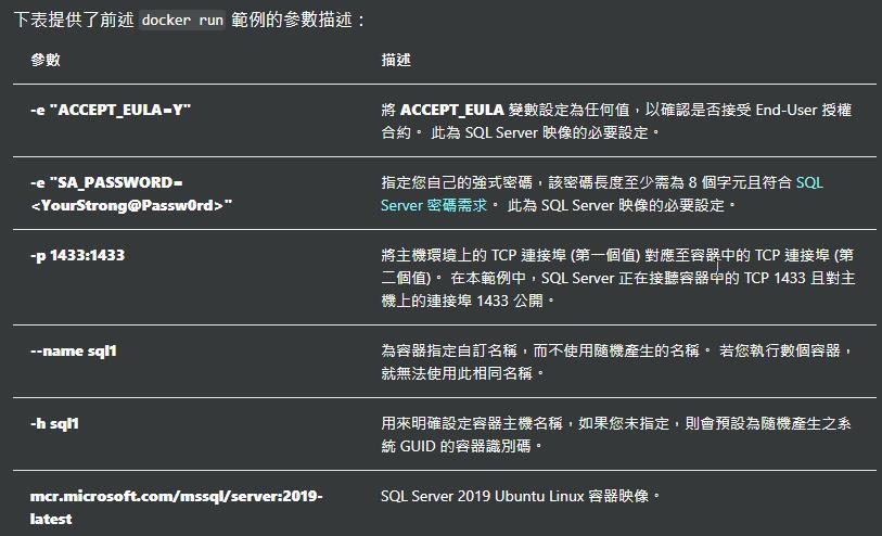 """下 表 提 供 了 前 述 docker run 範 例 的 參 數 描 :  -e""""ACCEPT-EULA—Y¯  A ( ( T u 定 為 何 • 以 認 是 否 接 受 End-User  合 約 , 薌 為 SQLServer 的 要 定 ,  定 您 自 己 的 式 , 該 度 至 少 需 為 8 字 元 且 符 合 SQL  Server 密 * , 此 為 SQL Server 的 必 要 定 ,  將 主 墳 上 的 TCP 埠 ( 第 - 中 的 TCP 埠 ( 第  二 - 匣 搴 簍 中 , SQL Server 正 在 接 的 TCP 1433 且 對 主  上 93* 接 1433 公 ,  為 客 定 自 訂 名 , 而 不 用 產 的 名 , 您 執 行 數 ,  法 用 此 同 名 稱 ,  用 來 虌 定 主 名 , 您 未 后 定 , 則 會 預 為 產 生 之  GUID ,  SQL """" 2019 Ubuntu 客"""