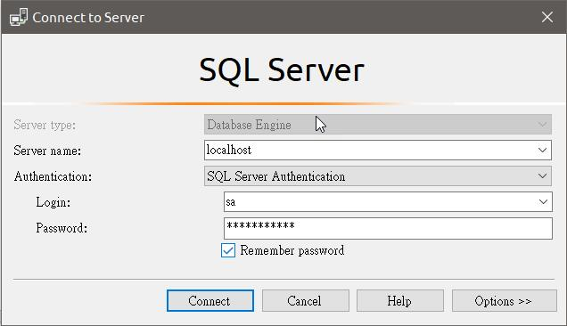 Connect to Server  type:  Authentication:  Login:  SQL Server  I cralhost  SQL Server Authentication  Remember password